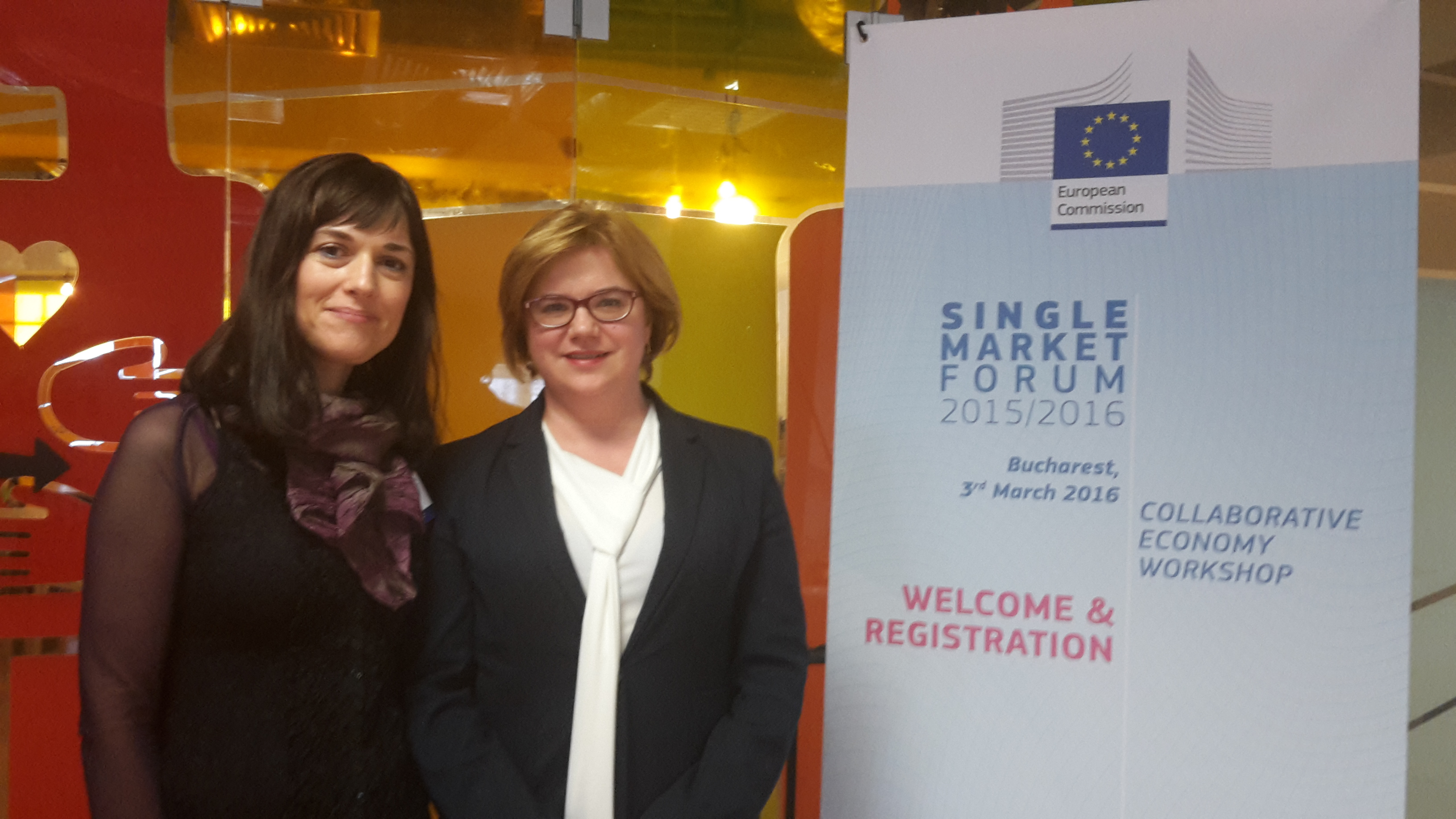 Dana Puia Morel and Alina Bârgăoanu at the Collaborative Economy Workshop organized by the at Bucharest with Romanian and Polish entrepreneurs March 3, 2016