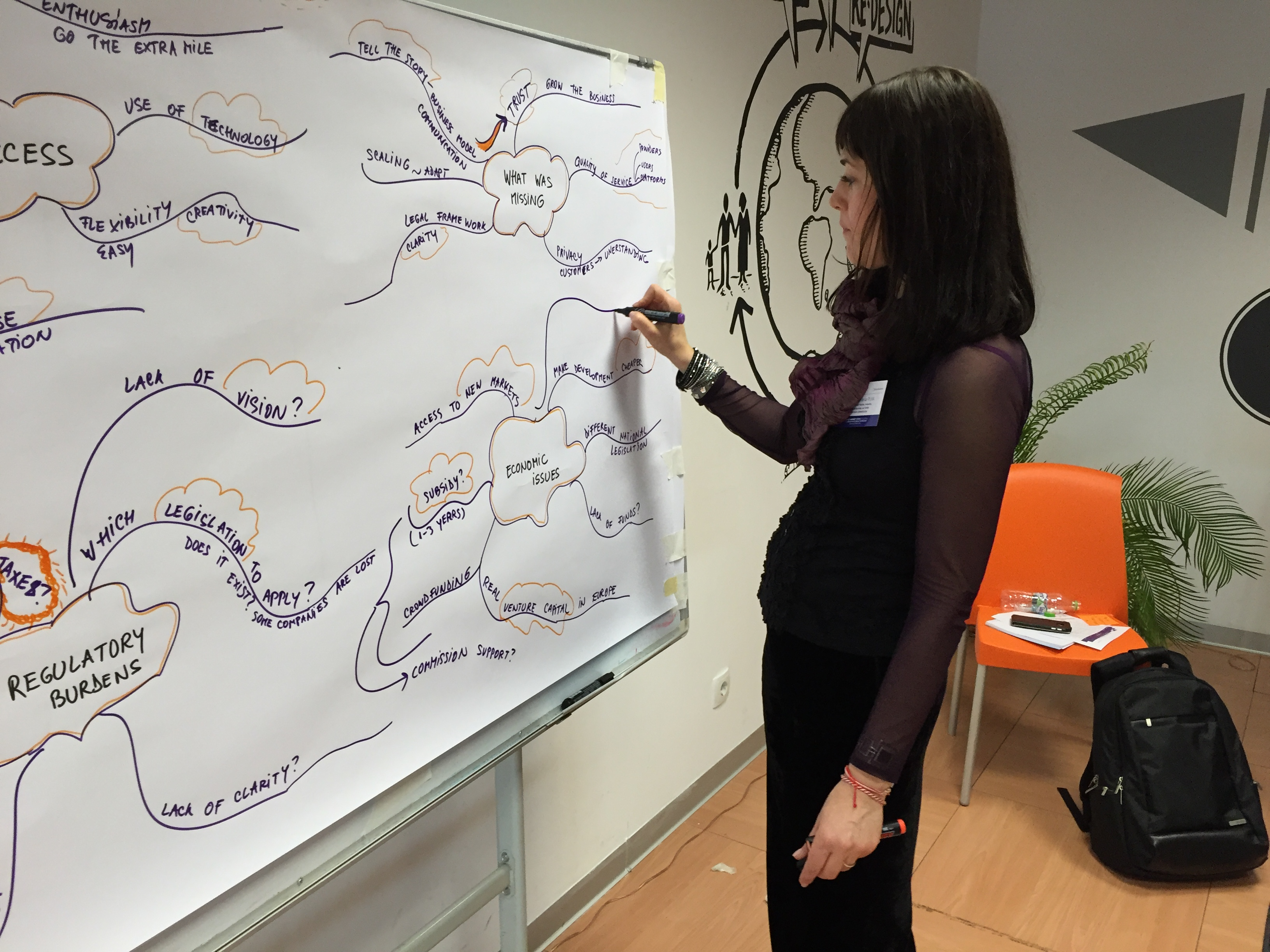 Dana Puia Morel facilitating the Bucharest workshop in participatory leadership style